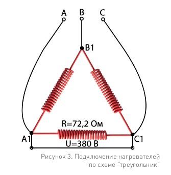 Расчет спирали трехфазной сети - Треугольник